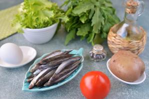 Салат с анчоусами и рукколой - фото шаг 1