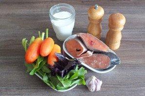 Горбуша со шпинатом и сливками - фото шаг 1